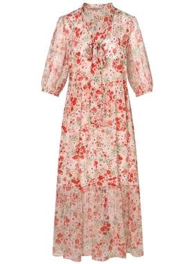 高端气质雪纺碎花连衣裙女2021夏季新款时尚宽松优雅显瘦裙子潮
