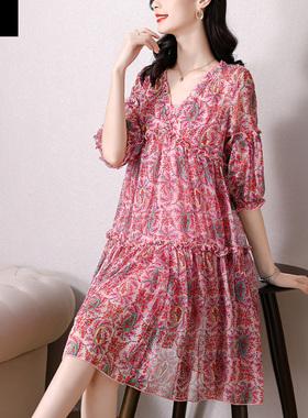 2021新款雪纺连衣裙薄款夏季大码女装高端洋气质宽松遮肚显瘦裙子