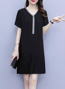 雪纺连衣裙子女夏季2021年新款高端黑色宽松显瘦中长法式气质短袖
