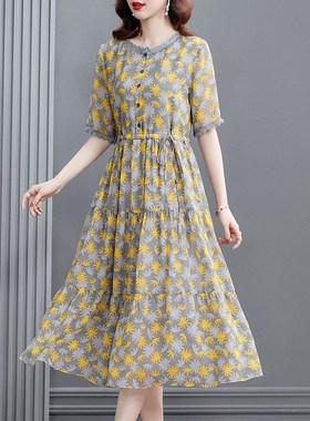 雪纺碎花连衣裙女夏2021新款高端阔太太时尚气质宽松减龄长裙