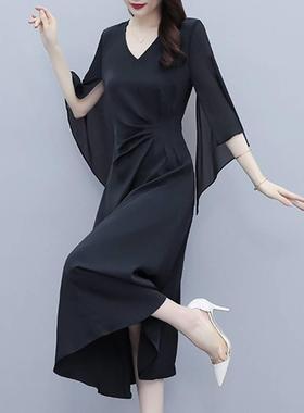 雪纺连衣裙子女装夏季2021年新款薄款宽松遮肚高端气质法式中长裙