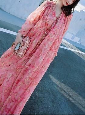 宽松度假粉色碎花蝴蝶抽绳雪纺顺于长裙2021夏高端气质收腰连衣裙