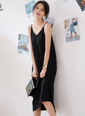 吊带连衣裙女2021新款夏雪纺内搭打底宽松V领气质长款度假背带裙