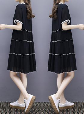 2021夏季新款女装a字娃娃裙中长款V领宽松显瘦大码休闲雪纺连衣裙