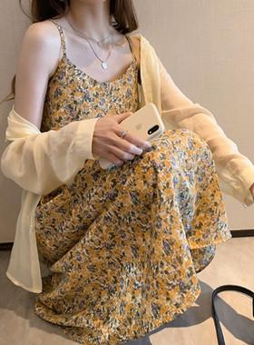 大码女装宽松遮肚雪纺碎花吊带连衣裙女夏装新款复古超仙打底长裙