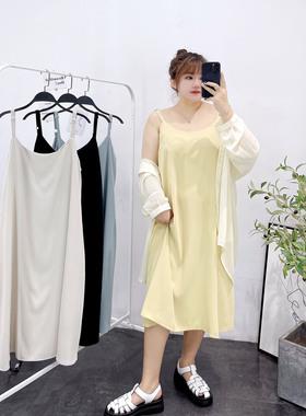 大码胖mm雪纺吊带连衣裙女夏季中长款宽松遮肚气质外穿内搭打底裙