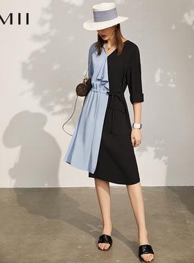 Amii极简拼色荷叶边连衣裙2021夏季新款V领撞色宽松雪纺绑带女裙