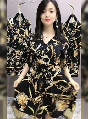 短裤套装女2021夏季新款薄款洋气休闲时尚宽松雪纺连衣裙两件套潮