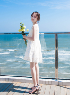 雪纺连衣裙女夏2021年新款夏天小个子宽松背心裙气质沙滩裙小白裙