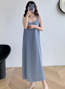 法式小众宽松雪纺吊带连衣裙女夏季2021新款小个子沙滩背心长裙子