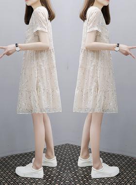 2021年夏季新款女装宽松V领小个子短袖仙女雪纺碎花a字连衣裙子
