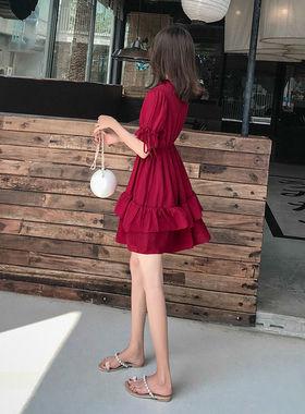 雪纺连衣裙女夏2020新款夏季裙子女学生韩版宽松小个子网红仙女裙