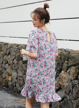 薇语大码女装胖mm碎花雪纺连衣裙小个子2021夏季新款洋气宽松减龄