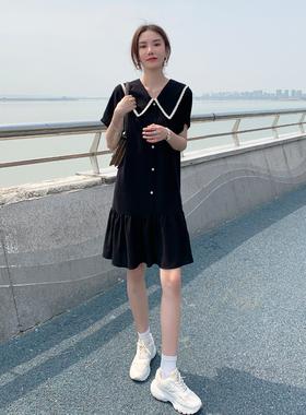欧货连衣裙2021夏季新款女雪纺a字裙小个子大码宽松显瘦小黑裙潮