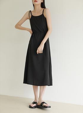 法式雪纺吊带裙女夏设计感小众外穿小个子收腰宽松开叉打底连衣裙