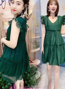 2021夏季新款韩版洋气宽松减龄连衣裙大码V领小个子中长裙雪纺女