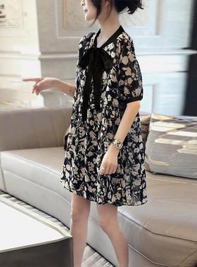 雪纺碎花连衣裙洋气小个子薄款宽松中长裙子2021新款夏欧洲站女装