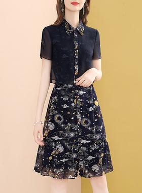 小个子雪纺连衣裙女2021夏季新款气质POLO领修身显瘦宽松衬衫裙子
