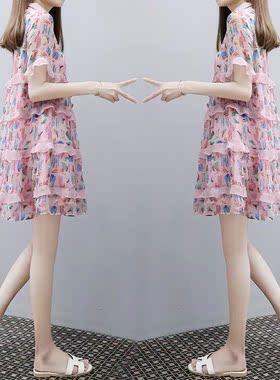 孕妇雪纺连衣裙夏装衣裙宽松娃娃领雪纺A字裙小个子法式碎花裙女