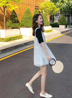 娇小矮个子150CM显高145夏季XS女装155连衣裙雪纺遮肚裙两件套装