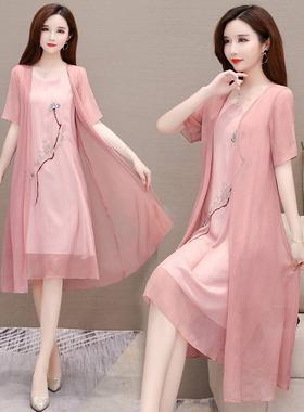 两件套2021夏新款大码绣花气质汉服中长款遮肚显瘦雪纺连衣裙女