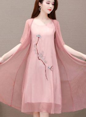 两件套2020夏新款大码绣花气质汉服中长款遮肚显瘦雪纺连衣裙女
