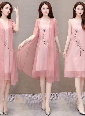 2021夏新款改良汉服中长款遮肚显瘦雪纺连衣裙大码女装绣花两件套