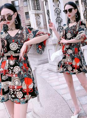 洋气雪纺裙短裤套装女大码2021年夏季新款连衣裙两件套遮肚子显瘦