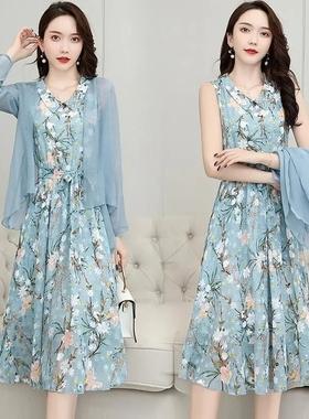 单/两件套雪纺连衣裙子女遮肚韩版夏季女装2021新款长裙披肩套装