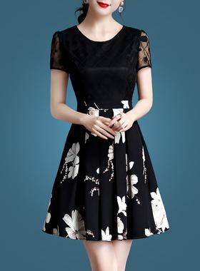 假两件套装碎花雪纺连衣裙2021新款春夏女装气质夏季遮肚蕾丝裙子
