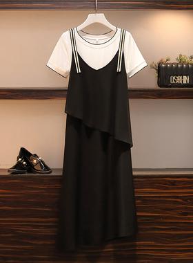 夏装微胖女孩穿搭宽松遮肚子背带裙两件套装大码雪纺连衣裙中长款