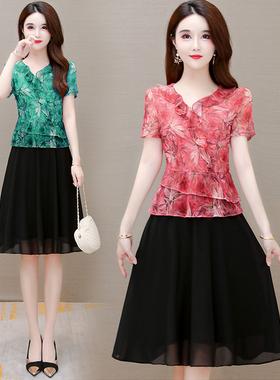 夏装新款雪纺印花妈妈连衣裙30-40-50岁中年女装假两件套遮肚裙子