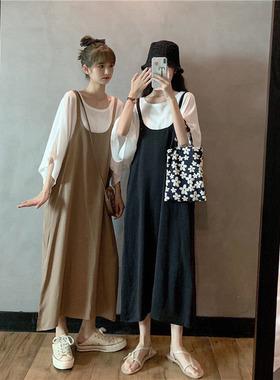 夏季胖mm200斤宽松大码女装300斤遮肚连衣裙韩版雪纺套装两件套潮