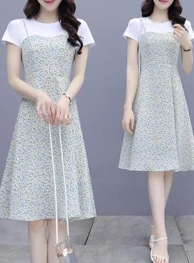雪纺吊带连衣裙女夏季2021新款气质假两件套收腰遮肚显瘦碎花裙子