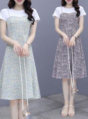 雪纺吊带连衣裙女夏季2021新款气质假两件套收腰遮肚子显瘦碎花裙
