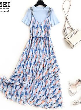 大码女装夏新款洋气背带裙两件套装胖mm遮肚子显瘦碎花雪纺连衣裙