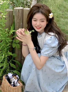 淑女裙两件套软奶蓝裙雪纺连衣裙女夏遮肚小清新夏装搭配套装甜美