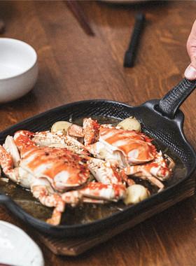 日本进口南部铁器加厚铸铁煎锅烤箱烤盘牛排烤肉平底锅煎蛋煎饼锅