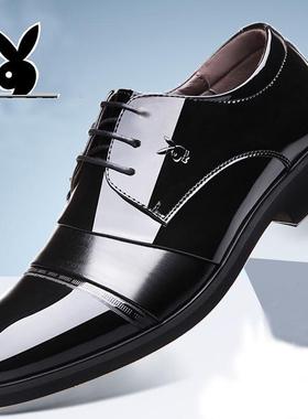 花花公子皮鞋男青年男士皮鞋正装商务男鞋真皮秋冬季加绒棉皮鞋男