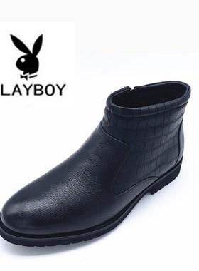 花花公子男鞋冬季新款商务休闲羊皮毛一体棉鞋男士棉靴PA47222777