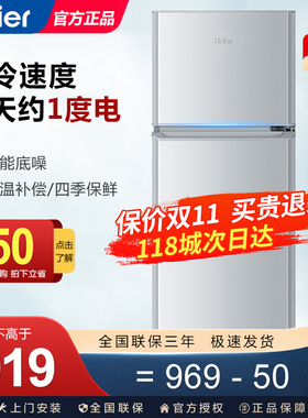 Haier/海尔 BCD-118TMPA冰箱双门家用小型节能宿舍租房官方旗舰店