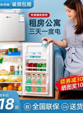 浪木小冰箱家用小型冷藏冷冻宿舍租房用迷你双开门电冰箱一级节能
