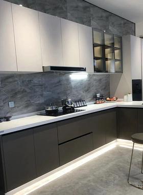 森奥现代中式橱柜定制PET门板北欧整体厨房厨柜定做设计全屋家具