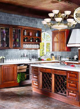 希洛红橡橱柜 L形中式厨房厨柜实木橱柜 美国红橡整体橱柜定做