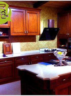 整体厨房欧式实木橱柜定制做石英石现代中式不锈钢拉手可安装拉篮