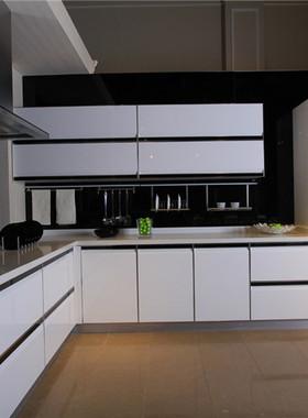 烤漆橱柜定做 中式整体厨房橱柜定制 石英石不锈钢台面开放式厨