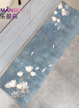中式厨房地垫pvc防油防水家用可擦免洗长条进门防滑垫门口蹭脚垫