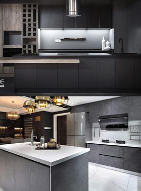进口定制整体橱柜厨房开放式大厨房工艺风新中式装修环保岩板台面