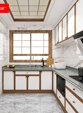 新中式整体厨房装修全实木烤漆橱柜厨柜石英石台面大理石吧台定制