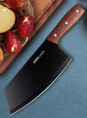黑色锋利切菜刀不锈钢厨房家用菜刀中式厨师切肉片木柄切片刀蔬菜